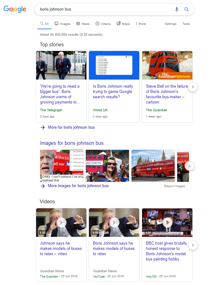 Boris Johnson Bus Google screenshot of results